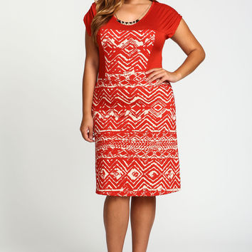 Plus Size Crepe Tribal Tee Dress