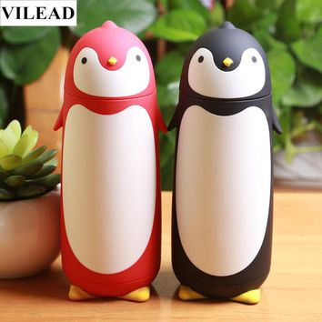 VILEAD Cute Penguin Stainless Steel Thermos Vacuum Flasks Cartoon Portable Thermal Insulation Water Bottle Student Children Gift