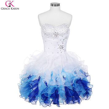 Short Prom Dresses 2016 Grace Karin Robe De Soiree Organza Blue Ombre Ball Gown Cheap Formal Party Dress Tutu Puffy Prom Dresses