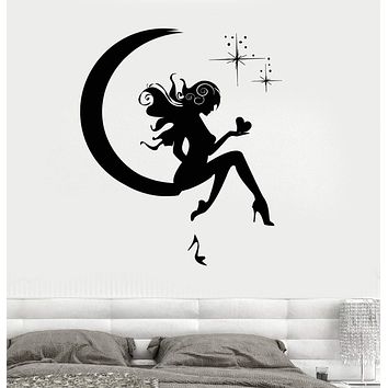 Wall Vinyl Sticker Moon and Stars Fairy Tales Magic Kid's Room Decor Unique Gift (3231)