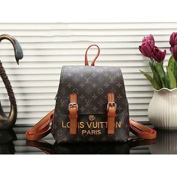 LV Popular Women Fashion Casual School Bag Leather Embroidery Letter Backpack Brown I-a-BBPFCJ