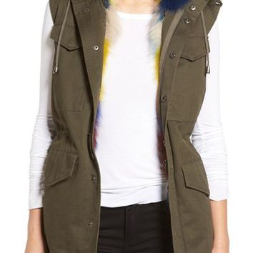 Jocelyn Army Vest with Removable Genuine Fox Fur Hood & Lining | Nordstrom