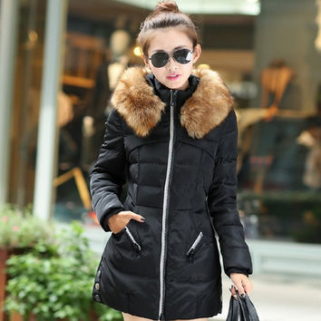 The new Korean long winter coat girls slim down jacket padded female outerwear = 1929608324
