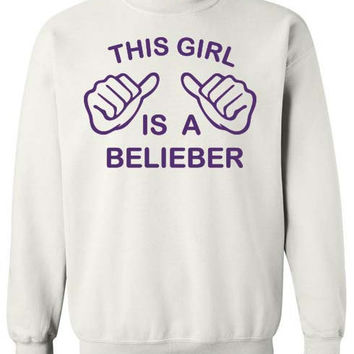 This Girl Is A Belieber Justin Bieber Funny Sweatshirt x Crewneck x Jumper x Sweater White with Purple