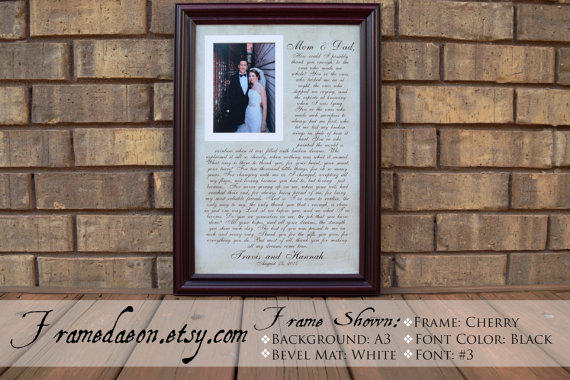Wedding Frame Gift To Parents Bride Groom From Framedaeon On Etsy