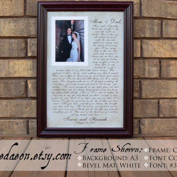 Wedding Frame Gift to Parents Bride Groom MOM DAD, Personalized Picture Frames frame - Parents Wedding frame - Thank you parent gift - 15x21
