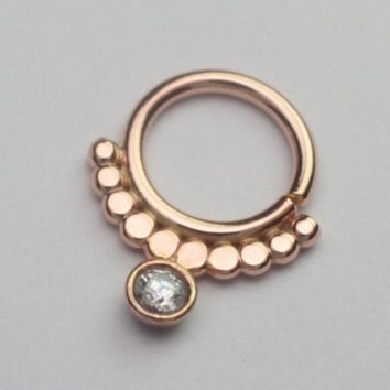 Septum ring / Nose ring jewelry 14k Rose Gold filled, 18g sunset ethnic jewelry, Helix, Tragus, Eyebrow, face piercing