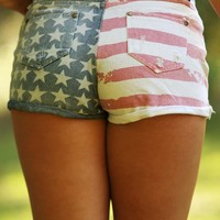 Star Studded Cutie Shorts: Denim/Multi - What's New - Hope's Boutique