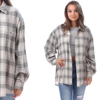 Oversized Flannel Shirt 80s Plaid Soft Distressed FADED Grey Off White Grunge Vintage Button Up Lumberjack Women Men XLto XXL