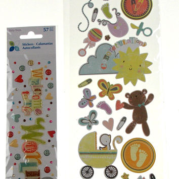 Scrapbooking Dimensional Stickers New Baby 6 Packages Momenta Bear Rattle Heart