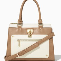 Colorblock Rivet Lockbox Satchel | Fashion Handbags | charming charlie