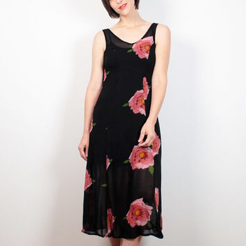 Vintage Betsey Johnson Dress Midi Dress 1990s Dress Black Pink Floral Print Dress 90s Dress Soft Grunge Dress SHEER Soft Goth XS Extra Small