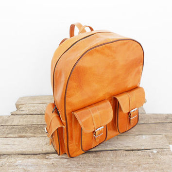 Caramel Orange Leather Medium Backpack, Satchel bag Handmade Soft Leather School College Travel Picnic Weekend bag