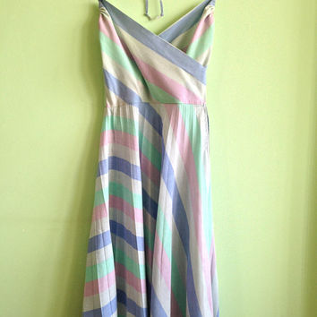 Halter Dress, Vintage 80s Pastel Colors Pleated Dress in Mint Geen, Sky Blue, Baby Pink, Striped Midi Dress, Cotton Summer Mid Calf Dress