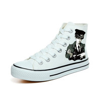 Amy and Michael Attack on Titan High Top Lace Up Canvas Shoes Hand Painted Eren Jaeger Anime Shoes Women and Men Cosplay Shoes