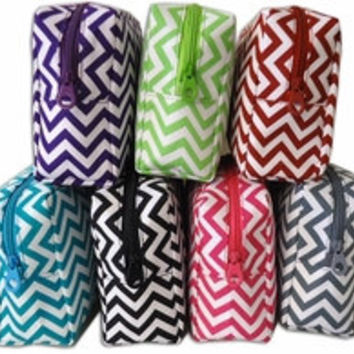 Chevron Pattern Embroidered Monogrammed Cosmetic Bag - Great Bridesmaid or Teacher Gift Bridal Party