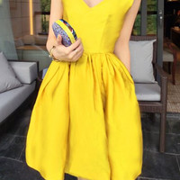 Yellow V-Neck Satin Midi Dress