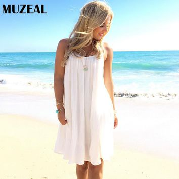 MUZEAL Summer Woman White Chiffon Sexy Mini Dress Lace Slip Off Shoulder Open Back Sleeveless Elastic Neck Ruffle Short Dress 49