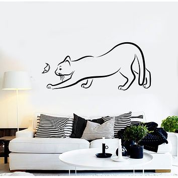 Vinyl Wall Decal  Funny Cat and Butterfly Animal Pet Shop Nursery Stickers Mural (g2929)