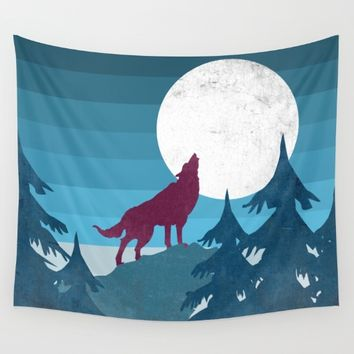 Wolf in the woods Wall Tapestry by Xiari