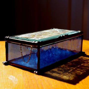 Antique Metal Framed Glass Box- Hinged Colbalt Blue Trinket Box- Glass Mirrored Jewelry Box With Pressed Flowers- Signed
