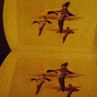 Hasko Wood Trays Mallard Ducks Lithograph Cover Lot of 6 USA Vtg Mid Century
