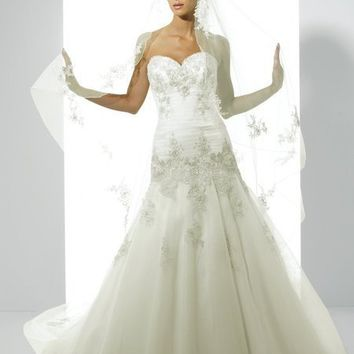 A-Line Sweetheart Floor Length Gown with Tulle J6148 : $246.00 at VikiDress.com.