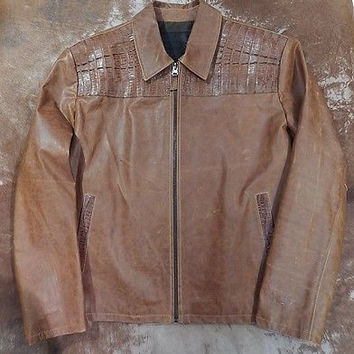 G-Gator Cognac Crocodile/Cowhide Flight Jacket