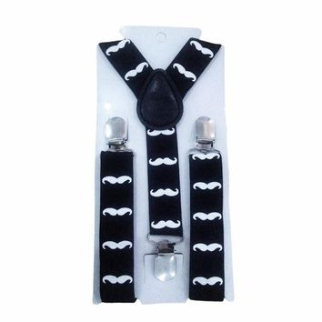 VONEGQ Cute Print Mustache Suspenders Belts For Kid Strap Adjustable Elastic Clip On Baby Boy Clothing Accessories