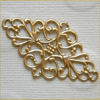 Raw Brass Filigree Vintage Style Diamond Stamping Wrap 25mm x 45mm- 4pcs