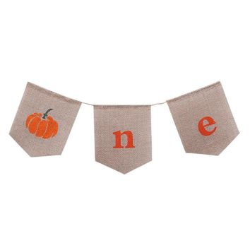 Banner Halloween Pumpkin Baby Birthday Party Atmosphere Props Pull Linen Flags Decoration burlap Flags Pennant Decor
