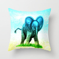 Baby Elephant Throw Pillow by Veronica Ventress | Society6