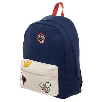 MPBP Kingdom Hearts Bag  Navy Blue and Whte Backpack with Kingdom Hearts Patches