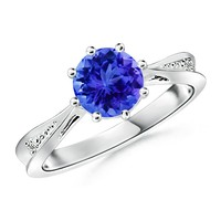 Tapered Shank Tanzanite Solitaire Ring With Diamond Accents