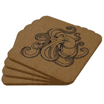 Octopus Tattoo Square Cork Coaster (Set of 4)