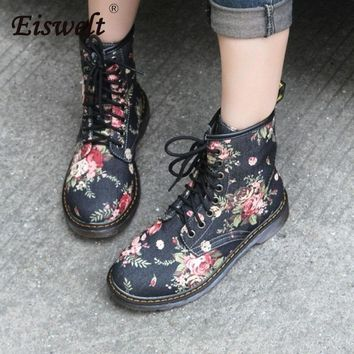 Women's Martin Boots Fashion Flower Shoes Lace Up Motorcycle Oxfords Flats Ankle Boots Casual Spring Autumn Shoes
