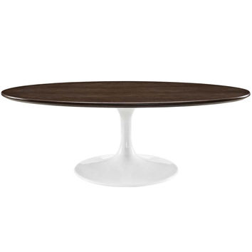 "Walnut Lippa 48"" Oval-Shaped Walnut Coffee Table"