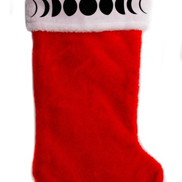 "Luna Moon Phases Christmas Holiday Stocking 17"" Red/White Plush Hanging Sock Santa Stuffer Merry Gothmas"