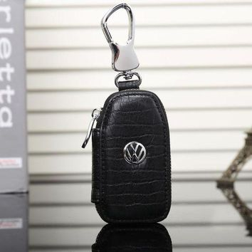 DCCKOB6D Volkswagen Fashion Leather Zipper Car Key Wallet Case Cover