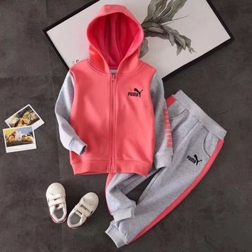 PUMA Girls Boys Children Baby Toddler Kids Child Fashion Casual Cardigan Jacket Coat Pullover Pants Trousers Set Two-Piece