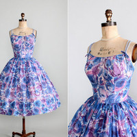 Vintage 1960s Dress  50s 60s Floral Full Skirt by RaleighVintage