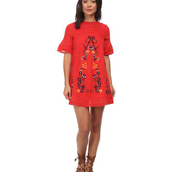 Free People Sheer Cotton Crinkle Perfectly Victorian Dress Tomato - 6pm.com