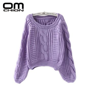 OMCHION New Winter Twist Soft Casual Women Sweaters And Pullovers Lantern Sleeve Short Sweater Loose Pull Femme SW96