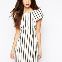 Vesper Stripe Asymmetric Pencil Dress With Origami Sleeve at asos.com