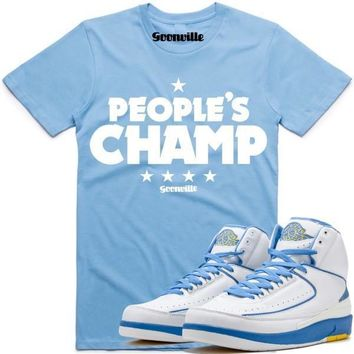 PEOPLES CHAMP Carolina Sneaker Tees Shirt - Jordan 2 UNC Melo