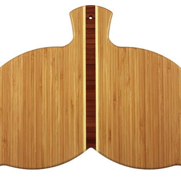 Whale Tail Shaped Bamboo Cutting and Serving Board