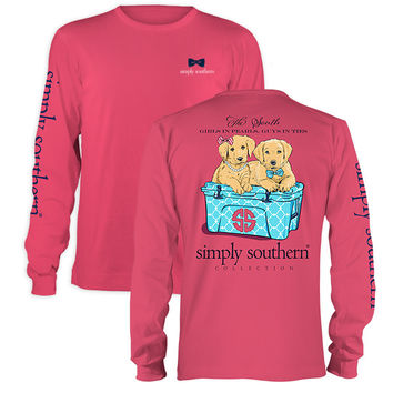 Simply Southern Preppy Puppy Pearls Yeti Long Sleeve T-Shirt