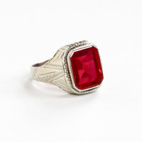 Antique Art Deco 14k White Gold Created Ruby Ring - Vintage 1920s Size 8 1/2 Large Red Stone July Birthstone Mens Statement Fine Jewelry