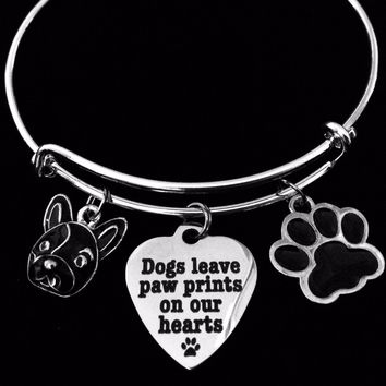 French Bull Dog Jewelry Dogs Leave Paw Prints on our Heart Expandable Charm Bracelet Silver Adjustable Wire Bangle Animal Lover One Size Fits All Gift