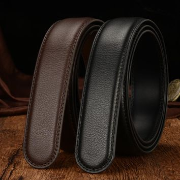 Brand Belt No Buckle 3.5cm Wide Genuine Leather Automatic Belts Body Strap Without Buckles Belts Men High Quality Belts